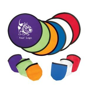 Folding Flyer Disc Hand Fan with Pouch